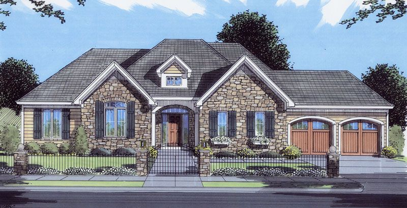 traditional style house plans 2199 square foot home 1 story 3 bedroom and 2 3 bath 2 garage stalls by monster house plans plan - French Country Ranch House Plans