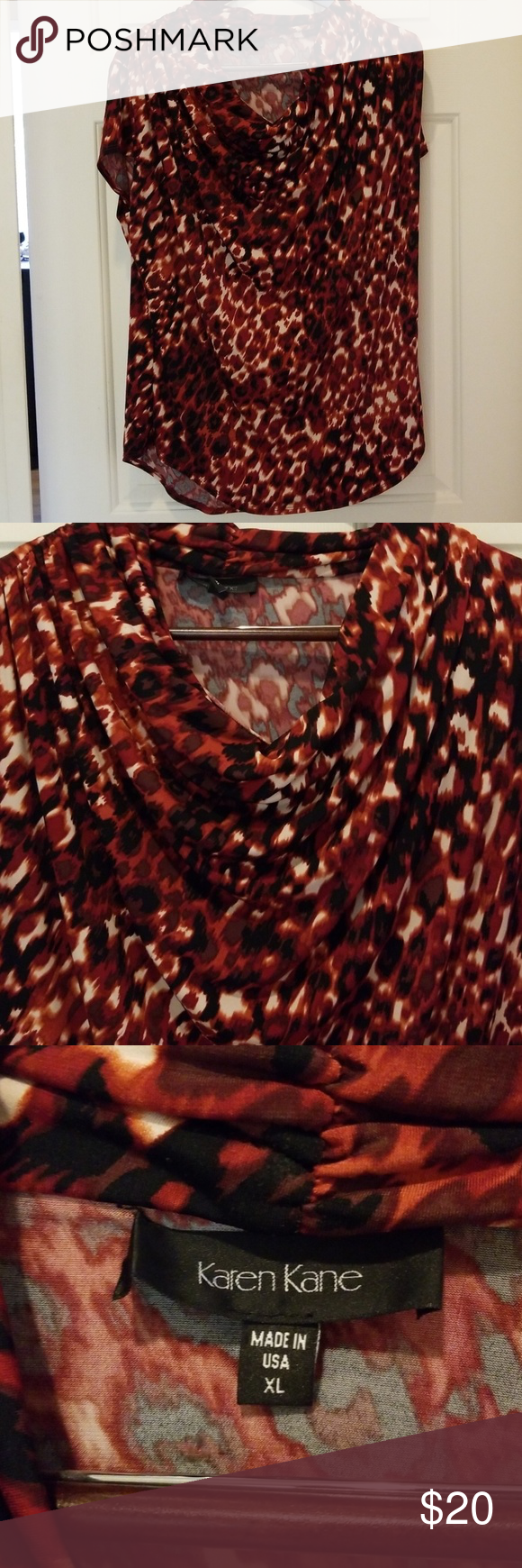 "~KAREN KANE~Lovely Short Sleeve Top Shirt Blouse This is a great top by Karen Kane that was worn once.  It is a size XL and is 26"" long.  It is has a gorgeous pattern of burnt reds, browns, blacks, and ivory.  It has a cowl neckline and is gorgeous. Karen Kane Tops Blouses"