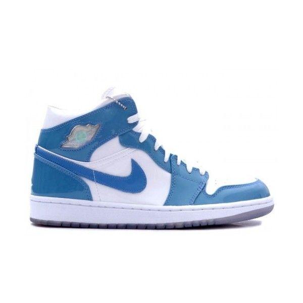 136085 140 Air Jordan Retro Jordans 1s 1 White Carolina Blue Patent Leather White  University Blue