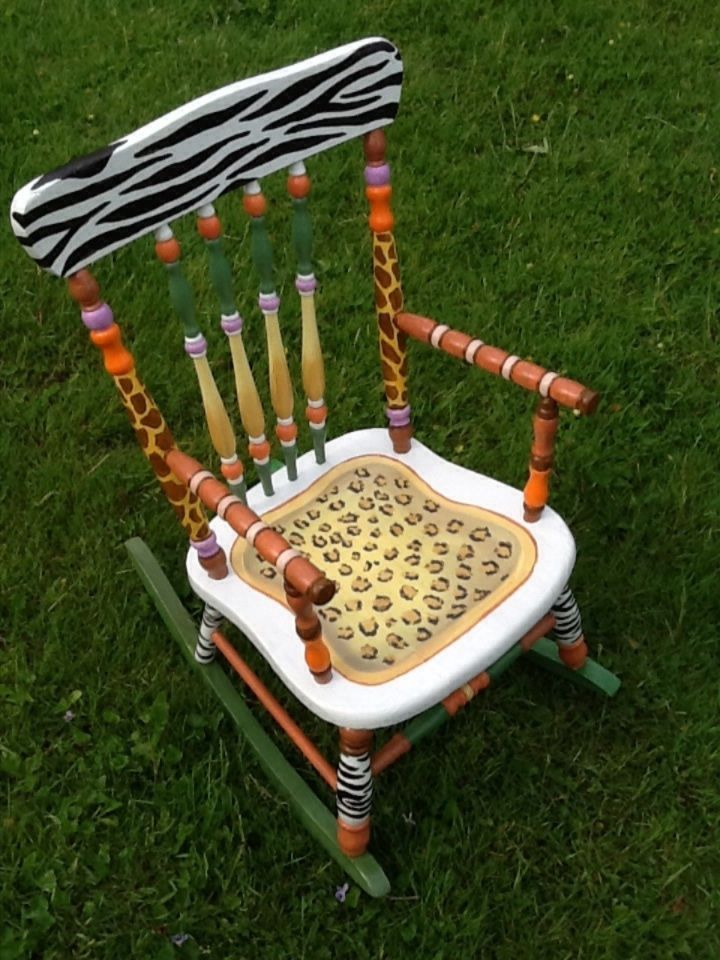 Details About Vintage Child S Hand Painted Rocking Chair