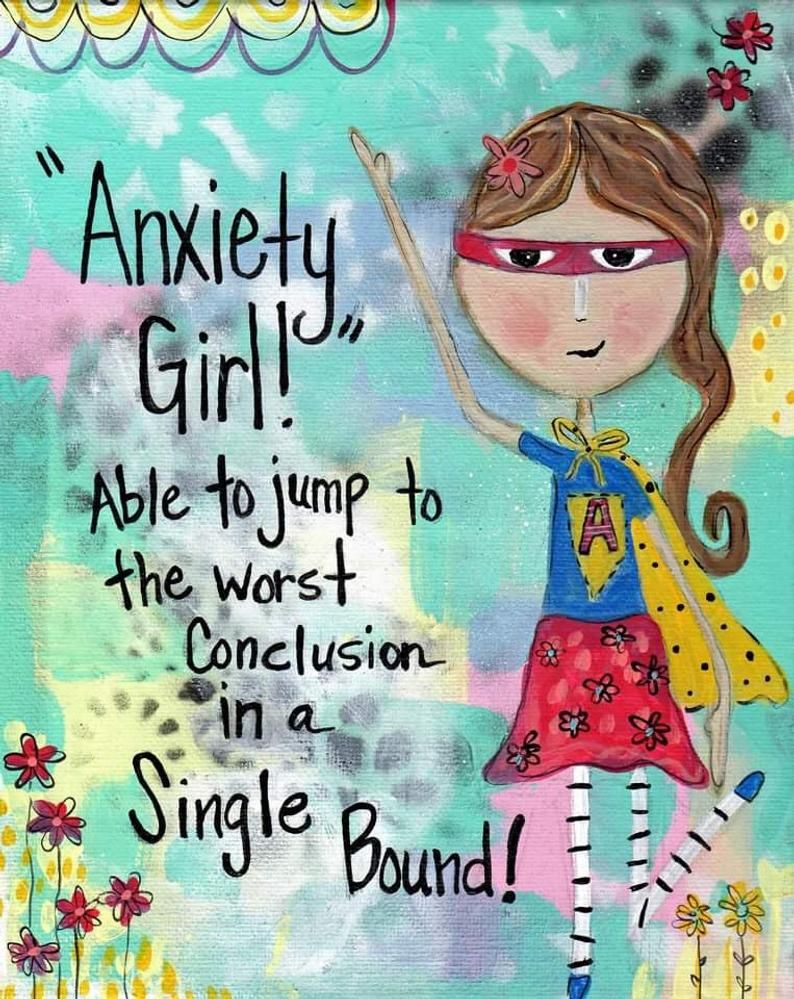 Funny Anxiety, Funny Girl, Superhero Girl Power Print
