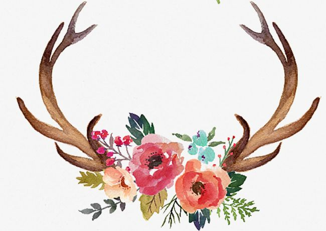 Hand Painted Antlers Peony Antlers Png Transparent Clipart Image And Psd File For Free Download Antler Art Print Antler Drawing Painted Antlers