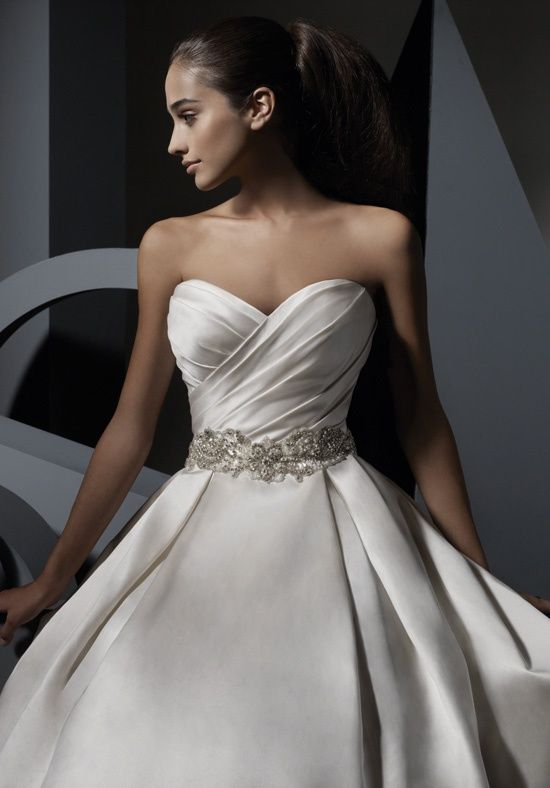 Satin ball gown with wrapped sweetheart bodice with rhinestones ... 9c69fe5f8a30