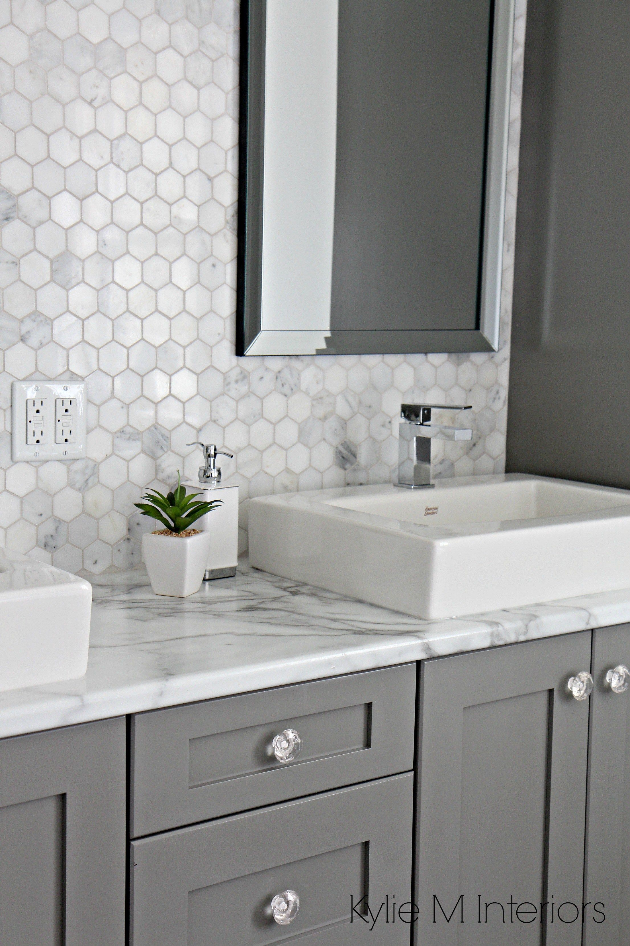 Incroyable Formica 180FX Calacatta Marble Laminate Countertop Hexagon Mosaic Marble Backsplash And Chelse Gray Vanity In Ensuite Bathroom With  Raised Sinks By Kylie M  ...