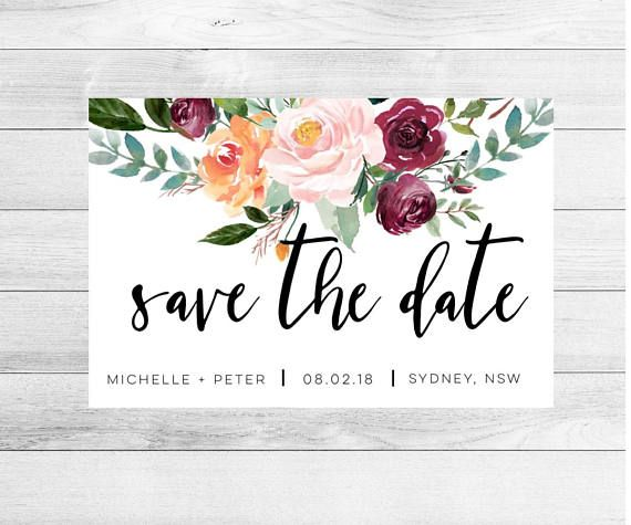 wedding save the date magnet floral wreath save the date custom save