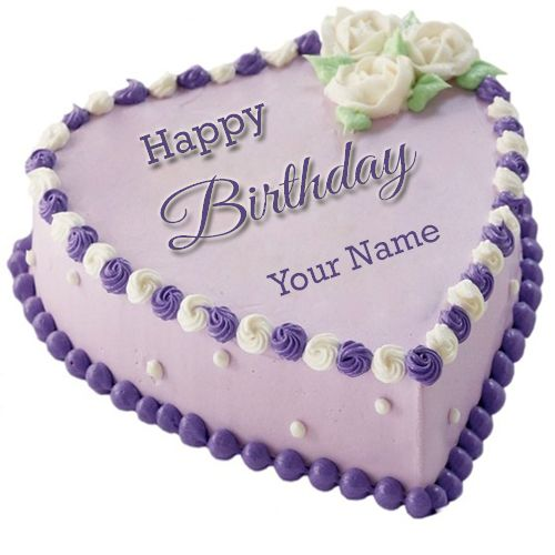 Beautiful Purple Velvet Birthday Cake With Your NameMy Name