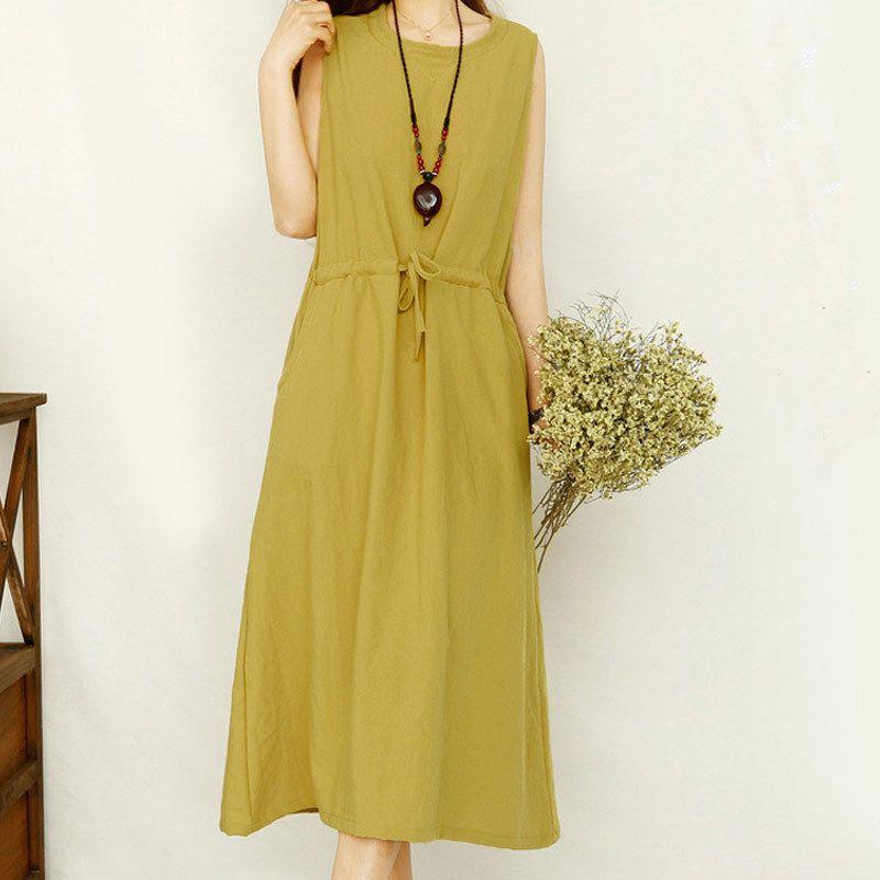 Solid white summer women linen dress plus size cotton sundress