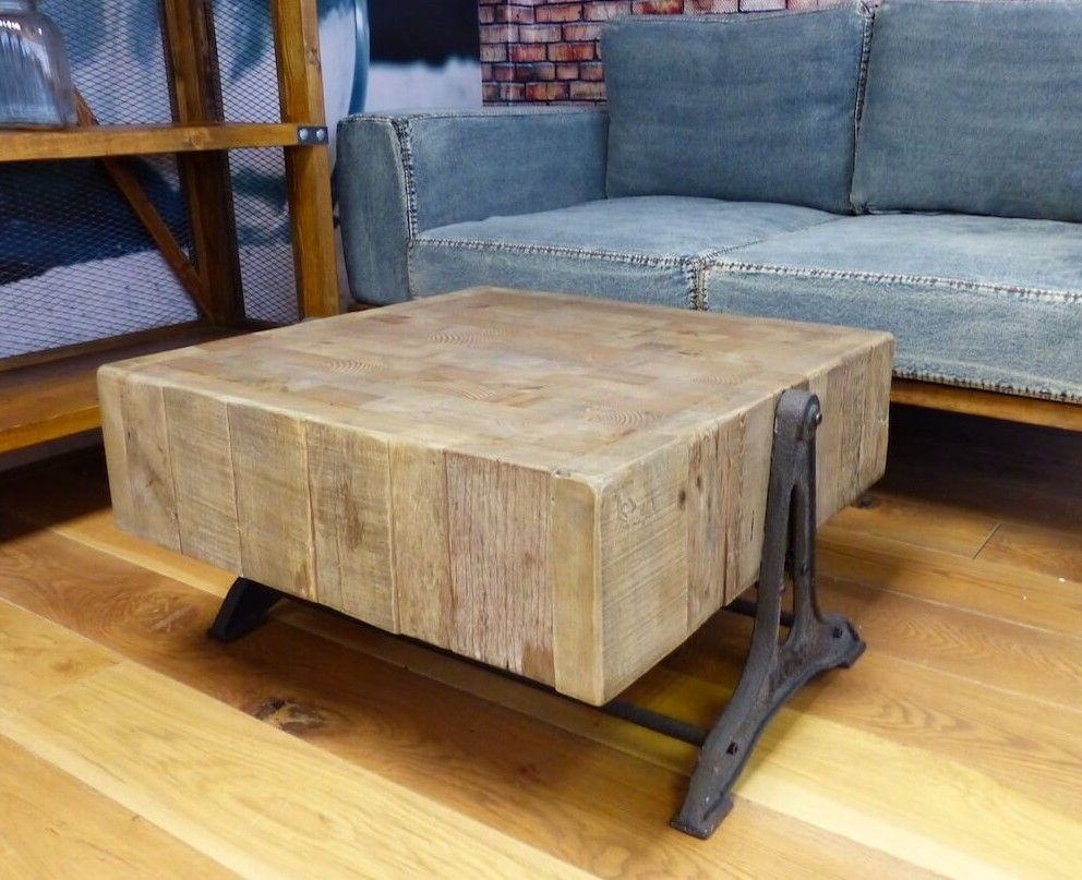 Square Industrial Reclaimed Wood Coffee Table Solid Square Wood Blocks Muebles Rusticos Casa Muebles Muebles