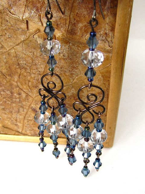 Smoky Blue Swarovski Crystal Chandelier Earrings By Kick Rox Jewelry Via Flickr