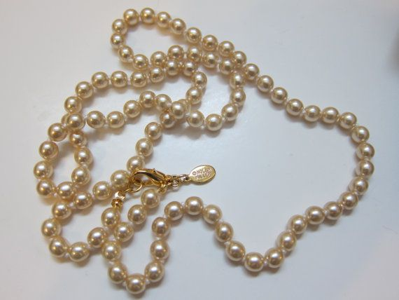 Nolan Miller Faux Pearl Necklace by LeTreasurelat on Etsy, $24.99