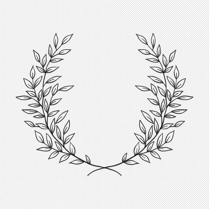 Laurel Wreath Svg - Floral Wreath Svg Vector Files - Flower Svg - Circle Monogram Frame Svg - Spring Svg - Summer Svg - Botanical Clipart