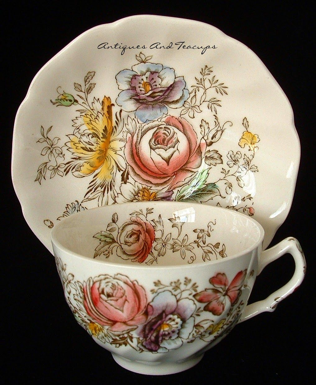 Johnson Brothers, England hand colored on transfer ironstone teacup in the Sheraton pattern from the 1910-1920s #cuppatea