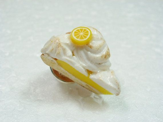 Lemon Meringue Pie Tie Tack Pin. Polymer Clay.