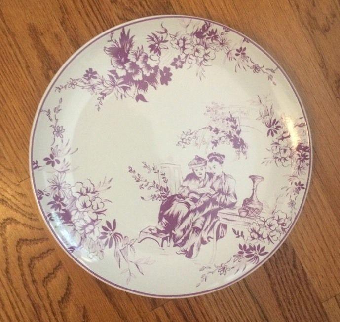Rebecca Moses Dark Lavender Purple Floral Asian Couple Dinner Plate 11 ...