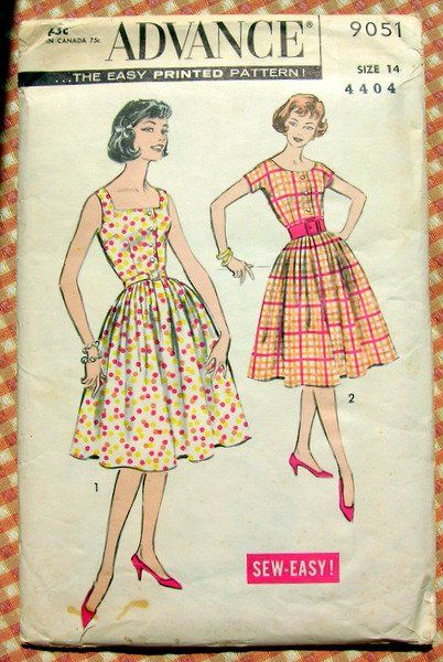 b09dc54b290 Misses Rockabilly Dress Vintage Sewing Pattern Advance 9051 ...