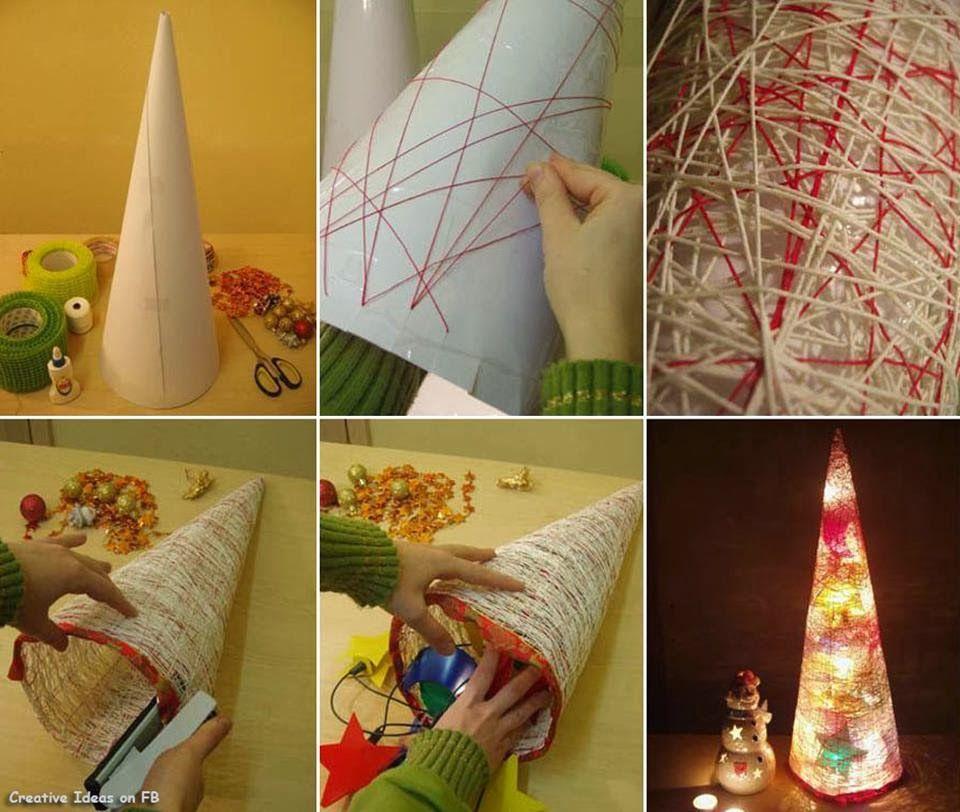 lampara de navidad con lana paso a paso