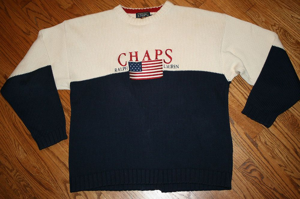 Large Flag Sewn Sweater Ralph Embroidered Men's Lauren Chaps Usa wvm8N0On