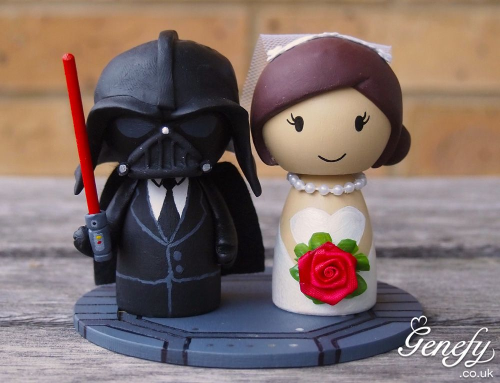 Star wars wedding google search star wars pinterest star star wars wedding cake topper darth vader and bride this adorable hero wedding cake topper is inspired by darth vader from the star wars movies junglespirit Images