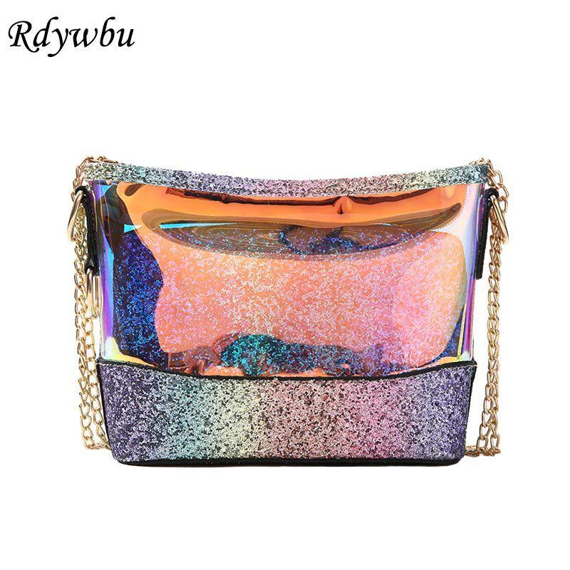 Rdywbu 2pcs Glitter Sequined Shoulder Bag Purse Women Laser Holographic Chain  Handbag Girls Small Patchwork Messenger Bag B463 9fd4311f8cd8