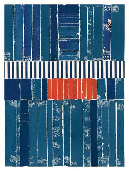 """Lisa Hochstein collage  Heart beat  9"""" x 12""""  salvaged paper"""