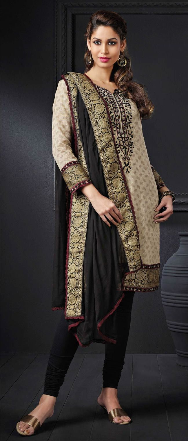 Beige #Cotton Readymade #Churidar Kameez @ $109.61