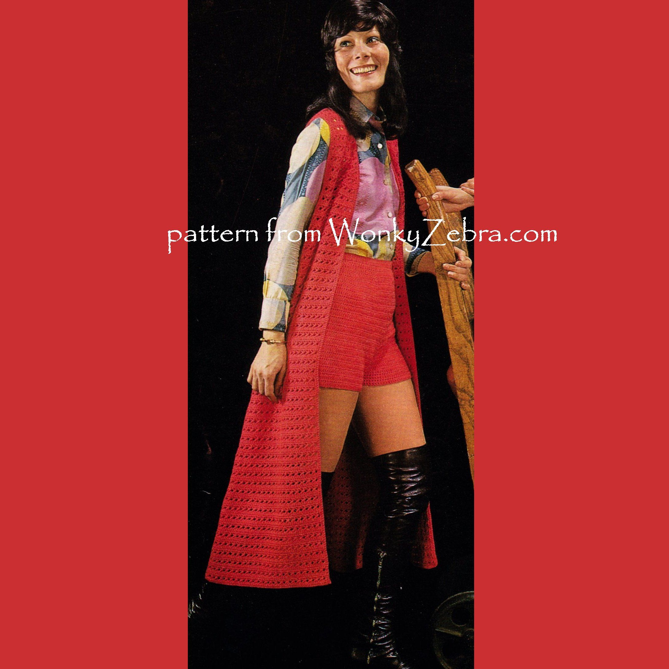 pure festival 70s look long crochet vest/waistcoat and shorts-or ...