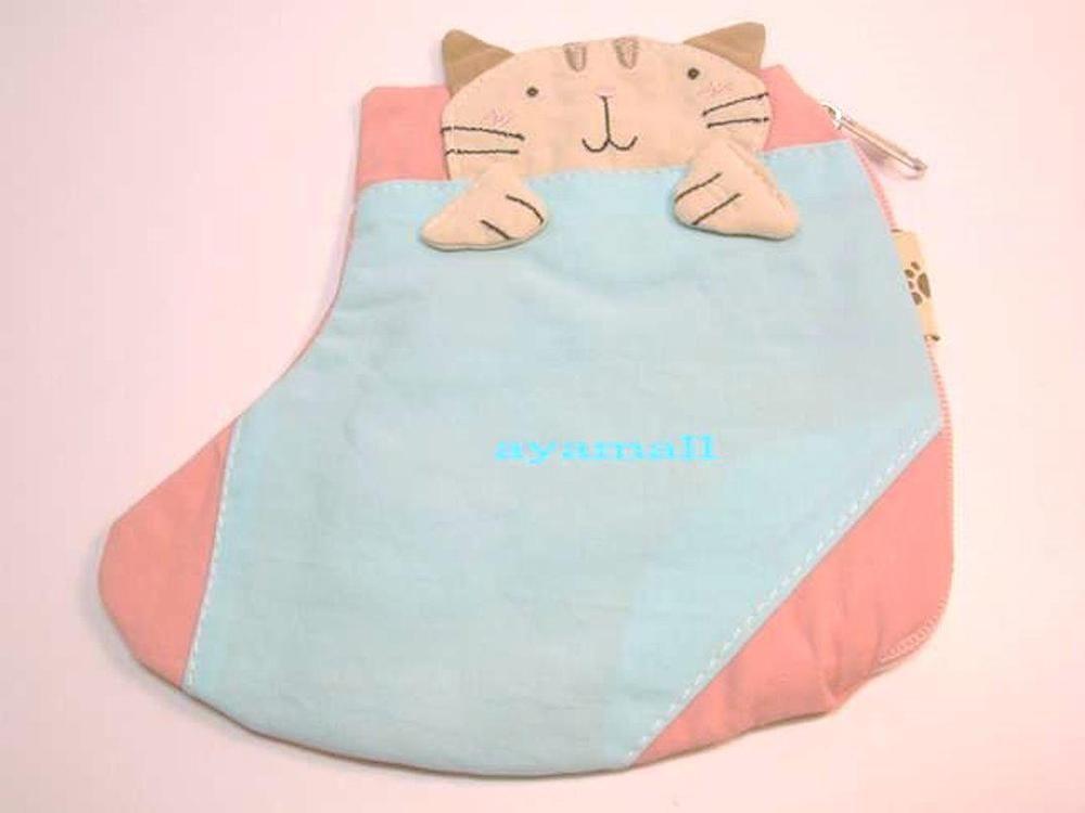 Cute cat cotton boot-shaped zipper purse/coin bag-light blue | eBay