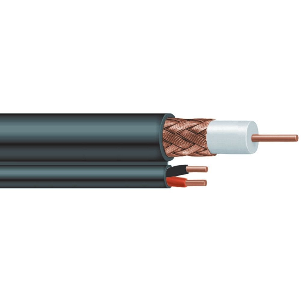 Vextra V5918rnbb Rg59 Cable With Two 18 Gauge Wire 500ft Black Electrical Wiring Jacket Solid Bare Copper Center Conductor Braided Shield Cm Rated Power Cmx Flame Retardant Etl