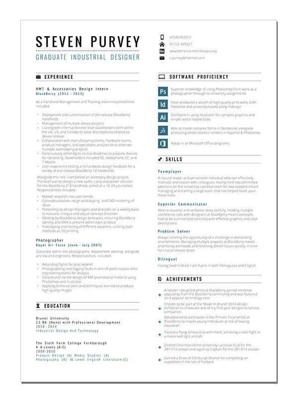 Curriculum Vitae By Steve Purvey Via Behance With Images