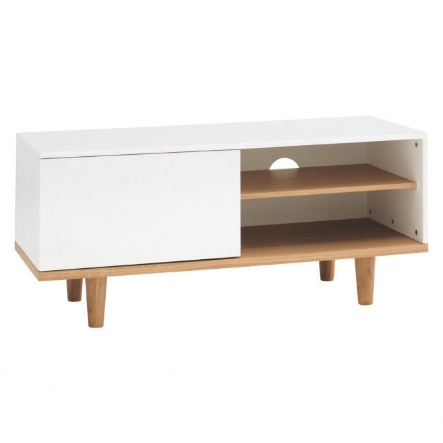 . ELLIOTT White small TV stand with 1 door   storage furniture   Small