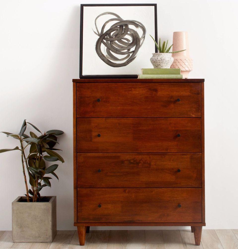 Vilas Mid Century Wood Brown Drawer Dresser Storage Home Bedroom