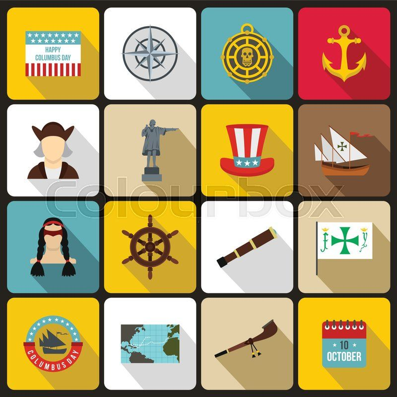 Columbus Day Icons Set In Flat Style Set Collection Sailing Equipment Vector Illustration Stock Vector Colourbox Happy Columbus Day Icon Set Columbus Day