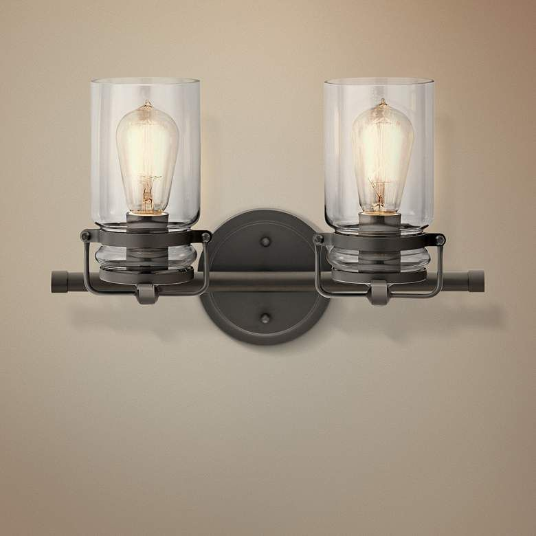 Kichler Brinley 10 High Olde Bronze 2 Light Wall Sconce 41j72 Lamps Plus Wall Sconce Lighting Wall Lights Wall Sconces