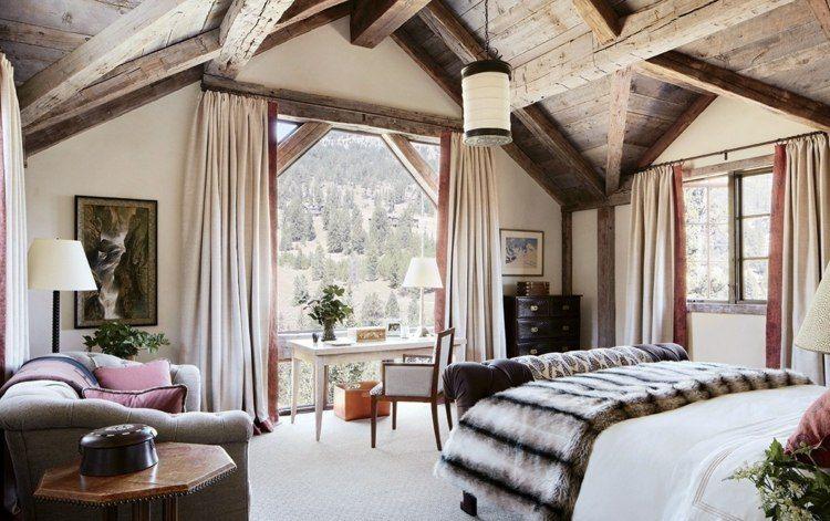 Verdunkelungsvorhang Schlafzimmer ~ Schlafzimmer vorhang design rustikal mit neutralen farben