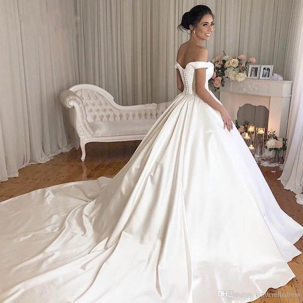 Vintage Lace Ball Gown Wedding Dresses 2019 Simple Plus Size White Off The Shoulder Button Wedding Dress Train Wedding Dresses Lace Ballgown Satin Bridal Gowns [ 1000 x 1000 Pixel ]