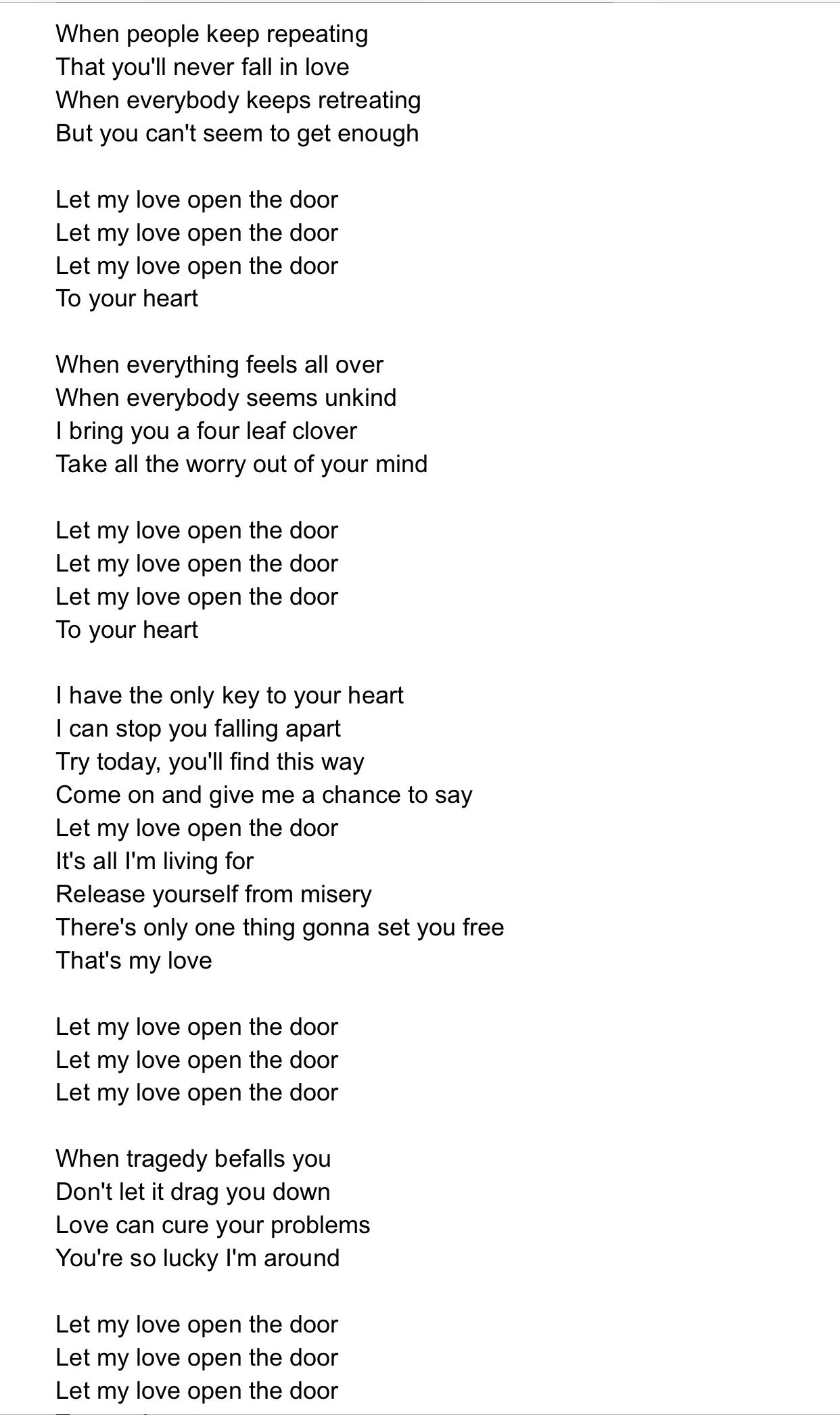 Pete Townshend Let My Love Open The Door lyrics  sc 1 st  Pinterest & Pete Townshend Let My Love Open The Door lyrics | Lyrics videos and ...