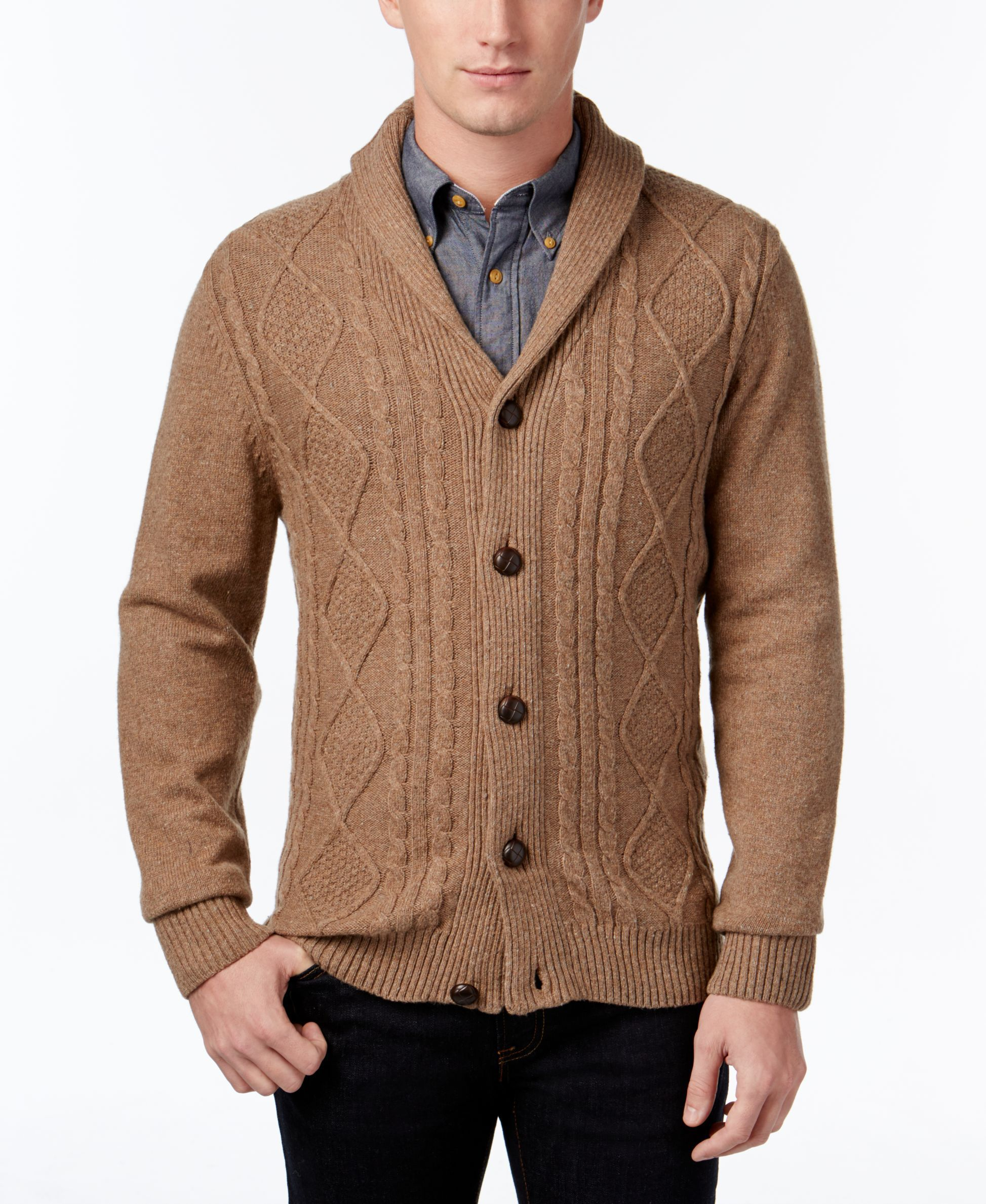 Tricots St. Raphael Men's Cable-Knit Shawl-Collar Cardigan ...