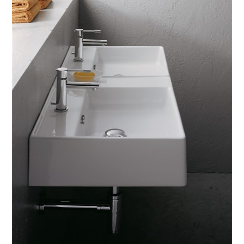 Ceramic Sink Double White Wall Mounted Scarabeo 8035 Vasque Lavabo Lavabo A Poser Plan Vasque