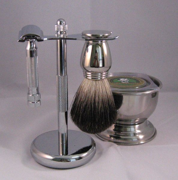 The Colonel Ichabod Conk Chrome 5 Piece Shave Set, crafted with sleek silver chrome plating and traditional touches.Makes an amazing gift and perfect for those new to wet-shaving. Included: -Merkur Long Handled Safety Razor #180 (23-001) -Pure badger bristle shaving brush with chrome handle -Coordinating stand and shave bowl -World Famous Colonel Shaving Soap For all your barber and beauty needs come in and visit or give us a call! alamobarber.com alamobeauty.com (210)824-1541