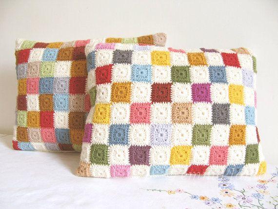 Handmade crochet cushion cover granny square crochet pillow patchwork