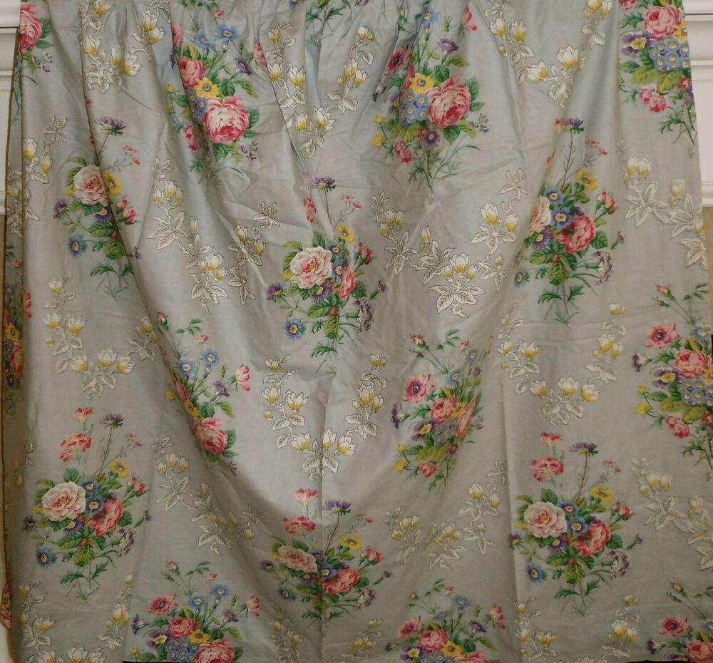 Vintage English Botanical Cottage Floral Roses Cotton Fabric Curtain ~ Blue Pink
