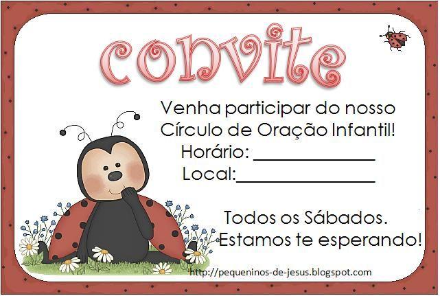 Convite Para Circulo De Oracao Infantil Convite Infantil Com