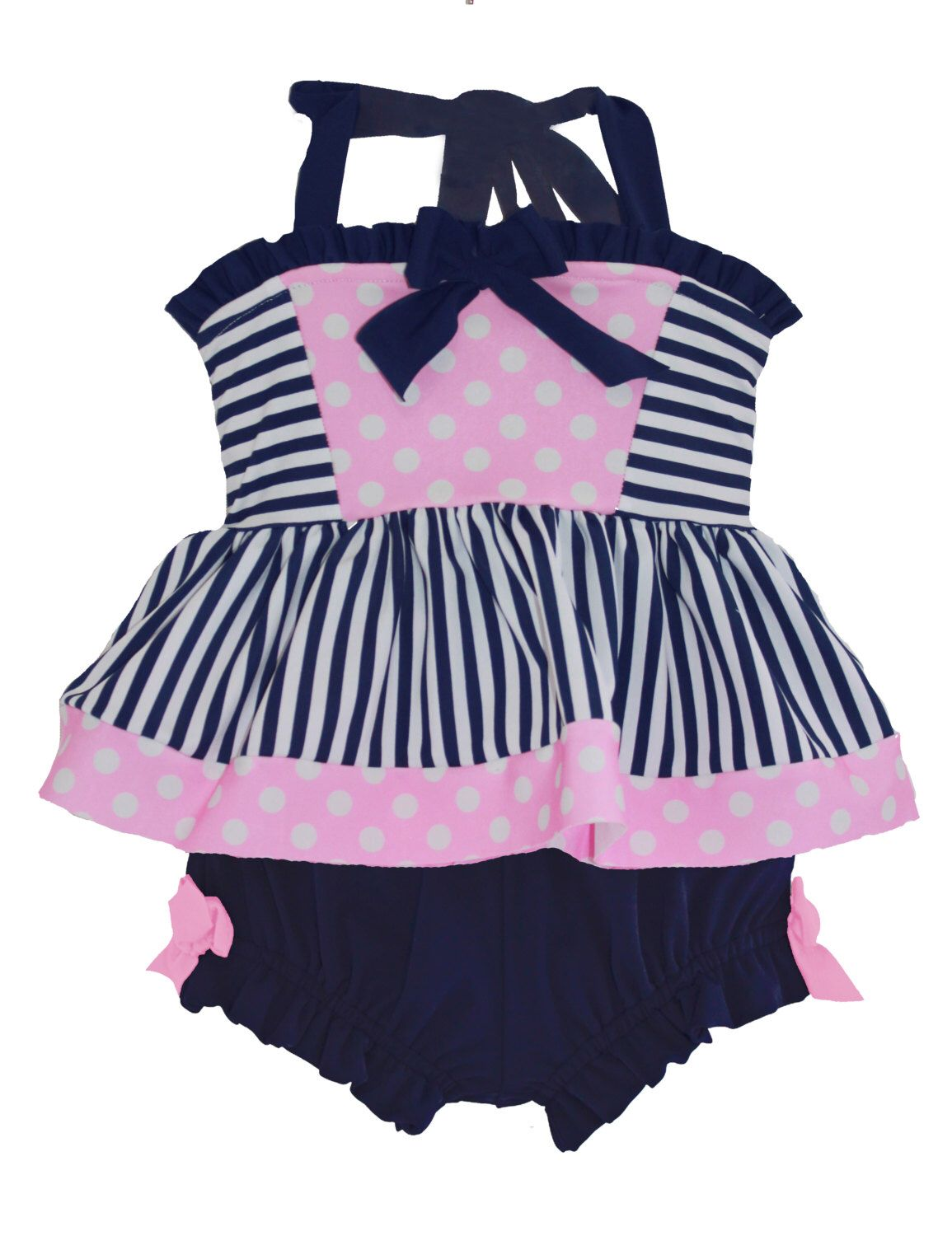 b079009d33 Eloise Tankini & Bloomers in Navy Stripe and Pink Polkadot: SS16  Collection (Size