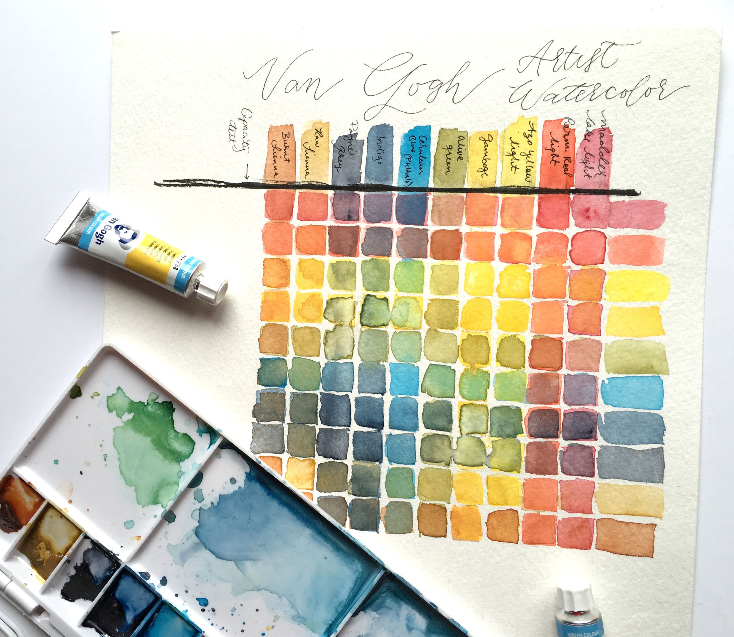 color mixing chart made with van gogh artist watercolors this chart