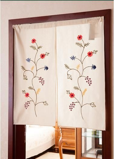 Cotton Door Curtain With Chinese Embroidery Cortinas Bordadas