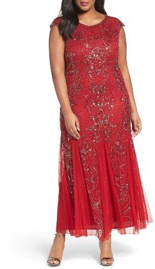 Plus Size Womens Pisarro Nights Beaded Gown Fancy Frocks Red