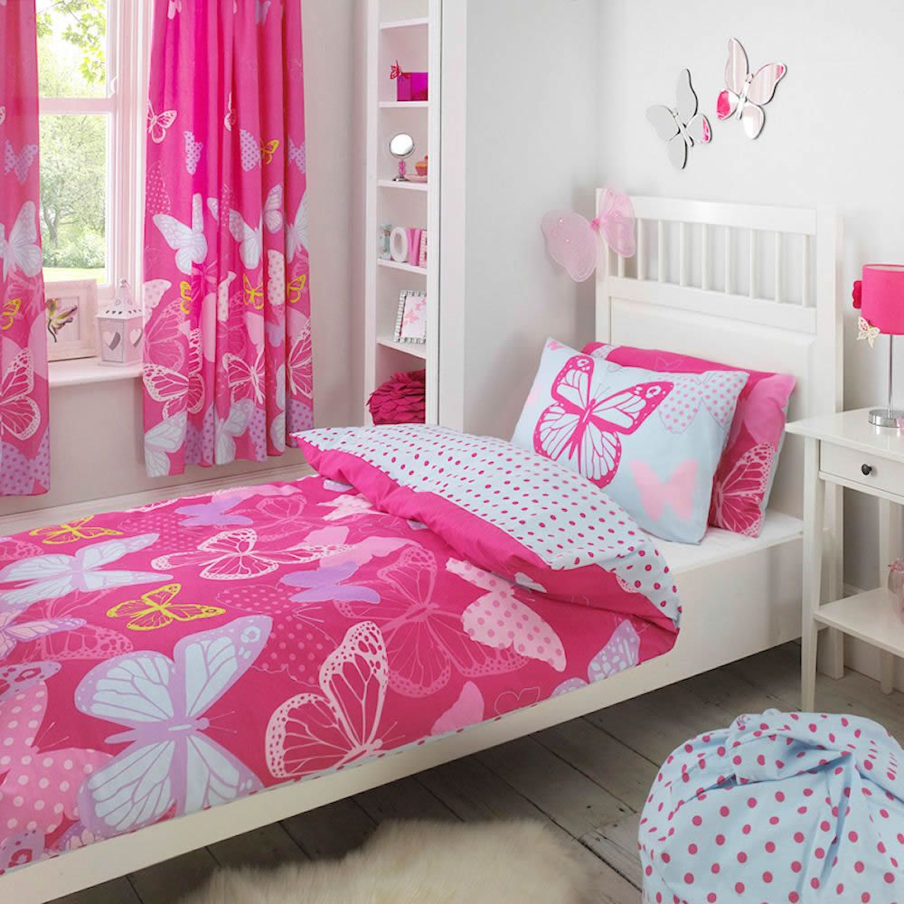 Pink Butterfly Twin Bedding