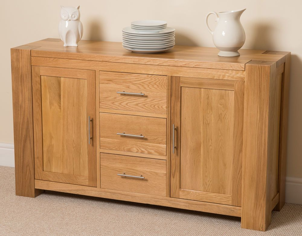 Kuba Solid Oak Wood Large Sideboard 3 Drawers And 2 Doors Dining Room Furniture