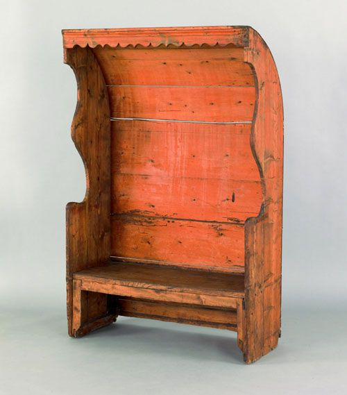 incredible pine bedroom furniture | settle bench, ca. 1780, with a curved roof and scalloped ...