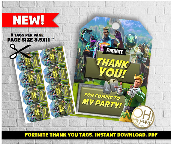 Fortnite Thank You Tag Fortnite Tags Fortnite Party Fortnite Favors